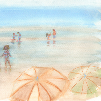 hot summer day on the beach with mirage