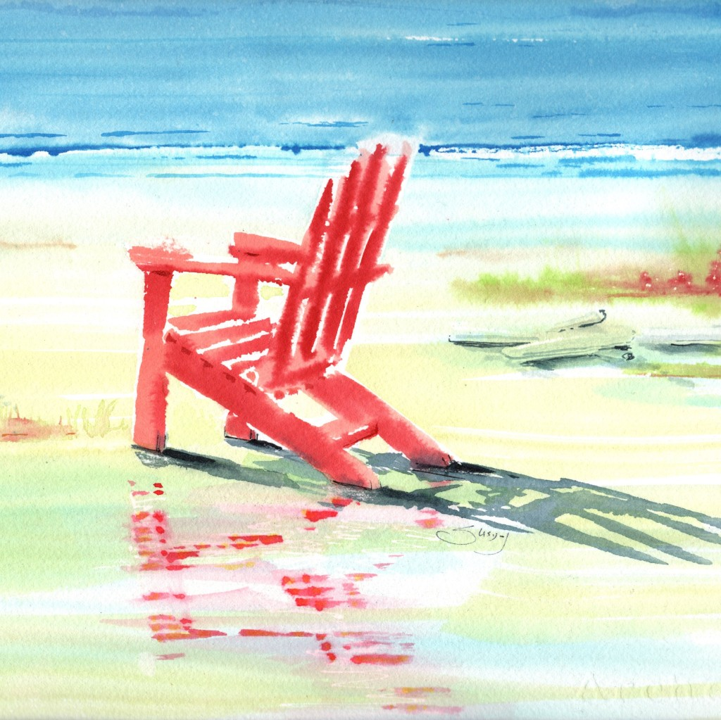 """I like to paint adirondack chairs and here is just another one however my naming of this singular empty chair got me reflecting on how lonely our lives have become with the pandemic upon us and therefore I would name this painting """"Waiting for the vaccine""""."""